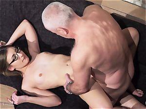 older and young porno - grandpa humps nubile honeypot fingers