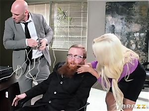 Bank robbing babe Bridgette B plows in front of the manager
