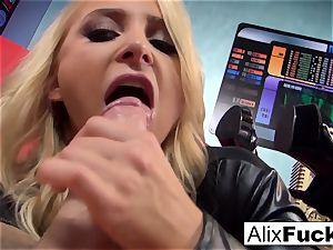 blonde honey Alix Lynx sucks off the cameraman