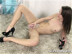 fantastic doll teasing her lovely puss with fun