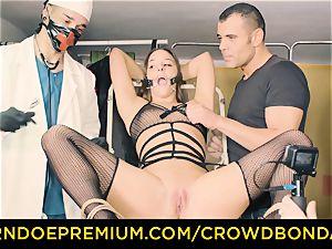 CROWD restrain bondage enslaved Amirah Adara very first time bdsm