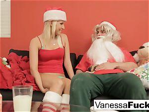 Vanessa letting Santa smash her taut humid coochie