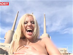 sizzling blonde Latina gets her rectal crevice filled outdoors