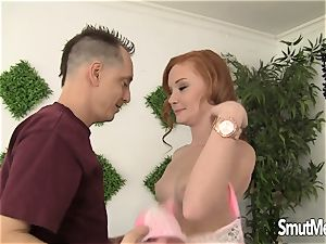 youthful red-haired gets torn up by her bf and licks jism