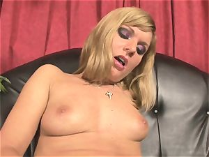 Pretty Victoria glisten playing with a yam-sized red dildo