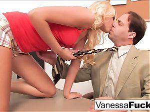 Vanessa cell pummels the professor