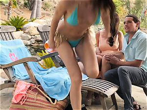 The Getaway Pt trio flashing jaw-dropping lesbos Dillion Harper and Charlotte Stokely