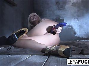Leya Falcon stuffs orgy fucktoys in both her crevices