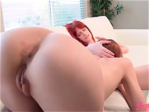 mischievous sandy-haired Stepsisters molten girl/girl act