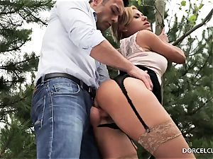 lady schoolgirls observe as their professor gets analed in the forest