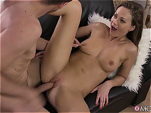 Tina Kay takes a powerful explosion all over her cool caboose