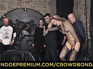 CROWD restrain bondage - extreme bdsm pulverize wheel with Tina Kay