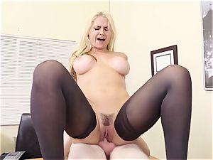buxom blond boss Sarah Vandella seduces youthfull employee