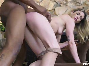 black fellow fucks his boss trampy wifey Dahlia Sky