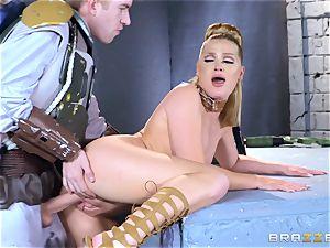 Abby Cross wedged in her wet honeypot
