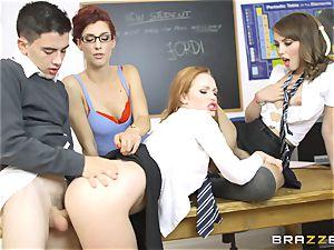 successful college girl Jordi gets into trio molten vulvas at college