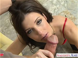Stockinged mommy India Summers gets pulverized and facialized