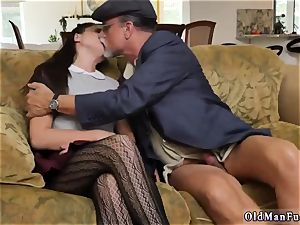 meaty black-haired first-timer riding the senior shaft!