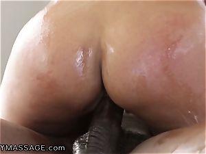 voluptuous Bridgette treats mad big black cock cock for Job!