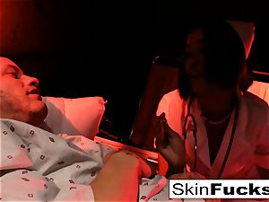 Nurse flesh gets rectally poked by her patient