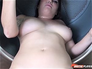 Karlee Grey deep-throats and gets pummeled in the washing machine